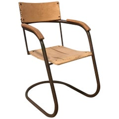 Paul Schuitema Tube Chair, Original in Copper and Upholstered Wood, circa 1930
