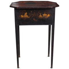 English Japanned and Painted Landscape Hinged One Drawer Stand, Circa 1815