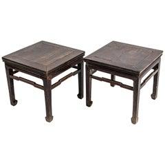 Paar Qing-Dynastie Quadratische Hocker