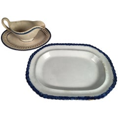 Blue Feather-Ware Platter and Gravy Boat, 19th Century