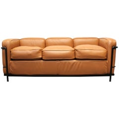 Le Corbusier for Cassina LC2 3-Seat Sofa in Brown Leather