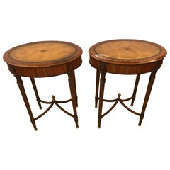 Pair of Beautiful Maitland-Smith Oval Side Tables