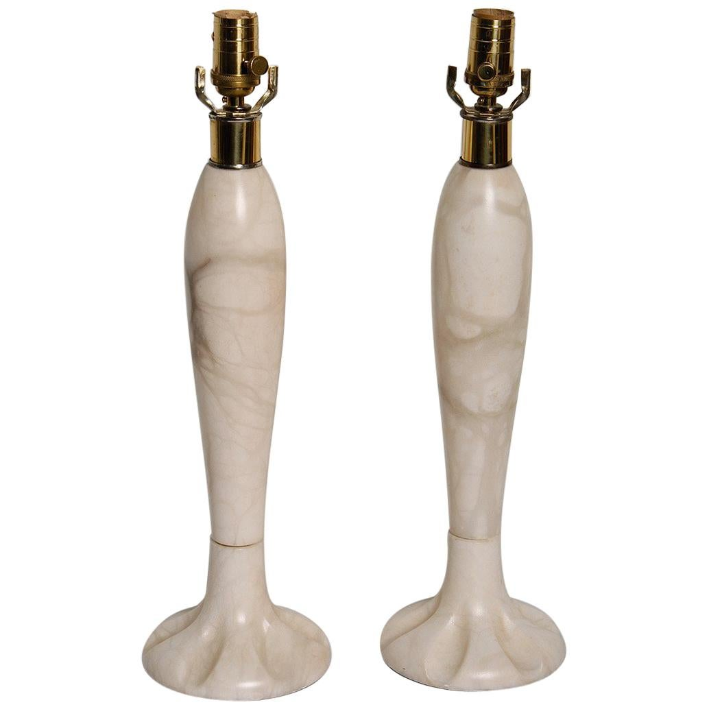 Pair of 1970s Italian Alabaster Lamps