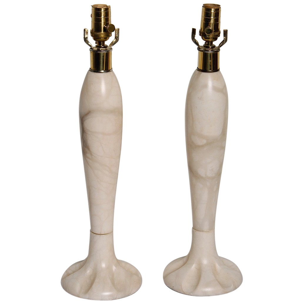 Pair of 1970s Italian Alabaster Lamps