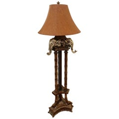 Incredible Faux Bamboo Elephant Motife Floor Lamp with Faux Leather Shade