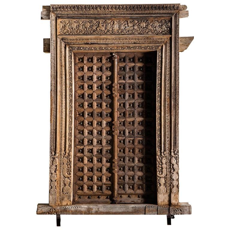 Monumental Carved Indian Entrance Doors For Sale