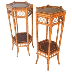 Pair of Spotted Bamboo Plant Stands