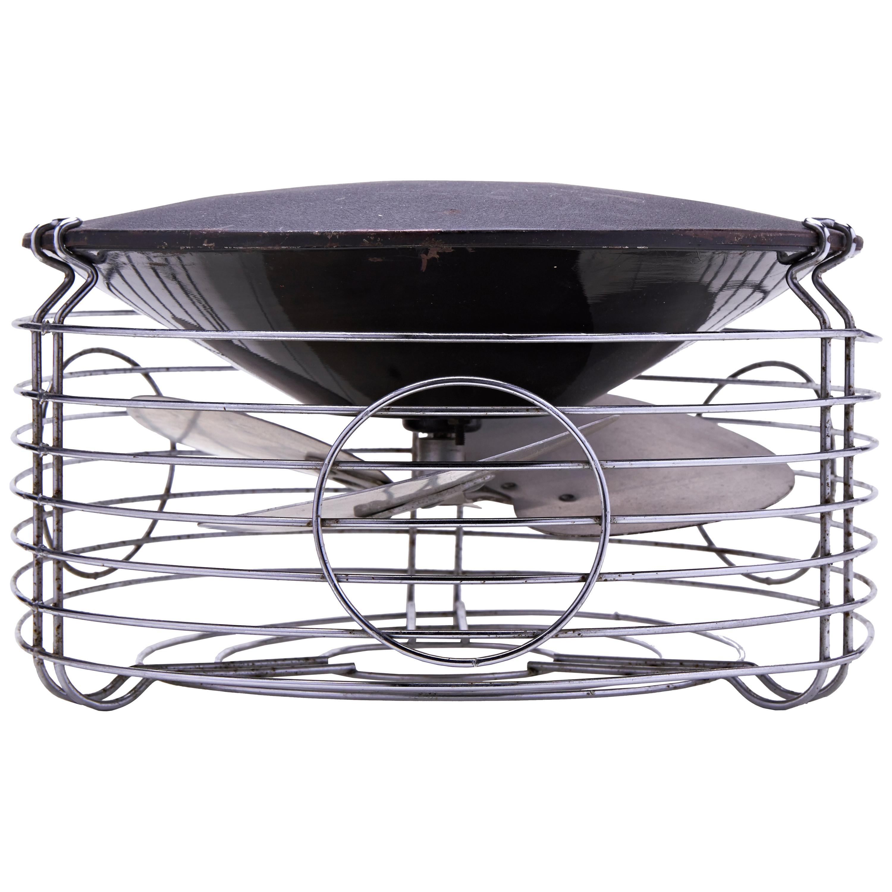 American Art Deco/Machine Age Chrome and Enamel Command-Air Lateral Floor Fan