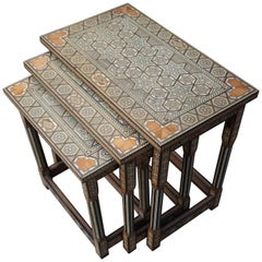 Vintage Handcrafted Moorish Nest of Tables with Amazing Number of Inlaid Motifs