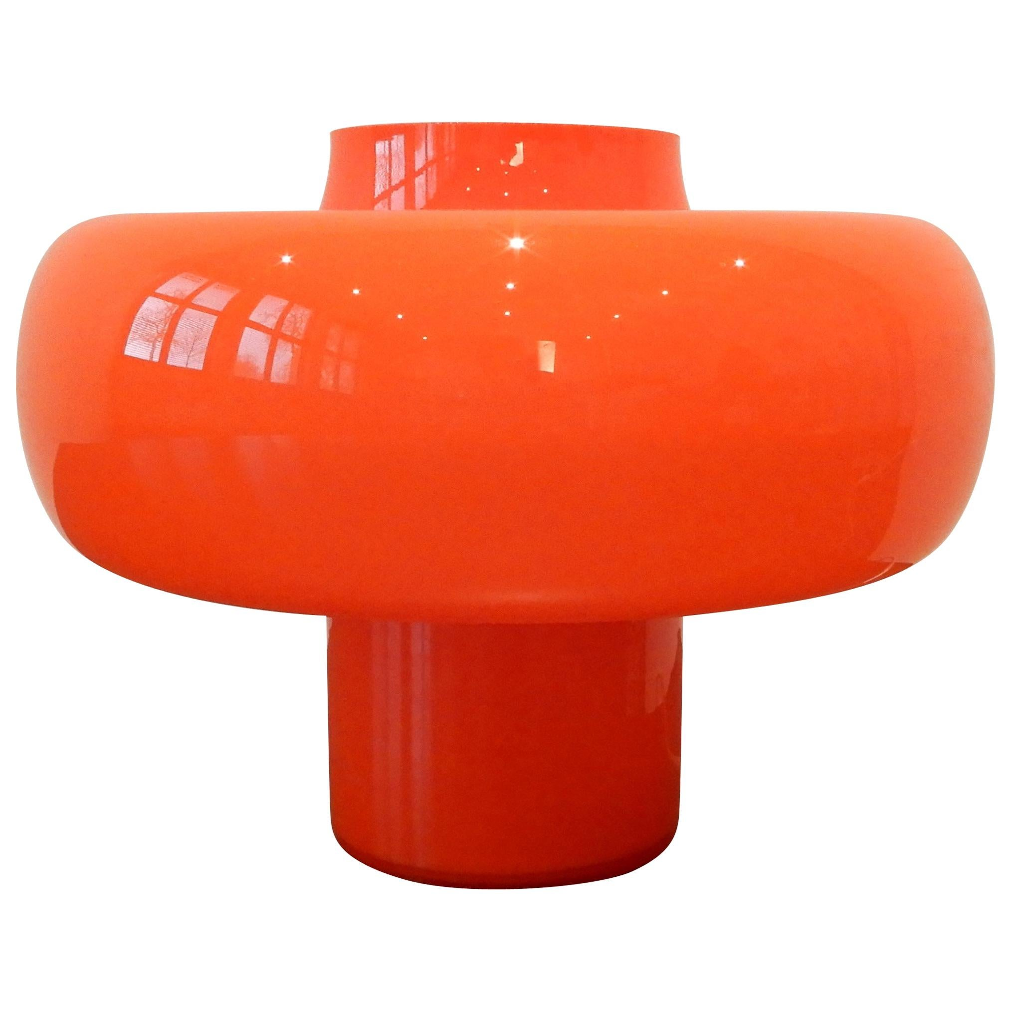 Swedish Orange Glass Table Lamp, 1960s Vintage Design