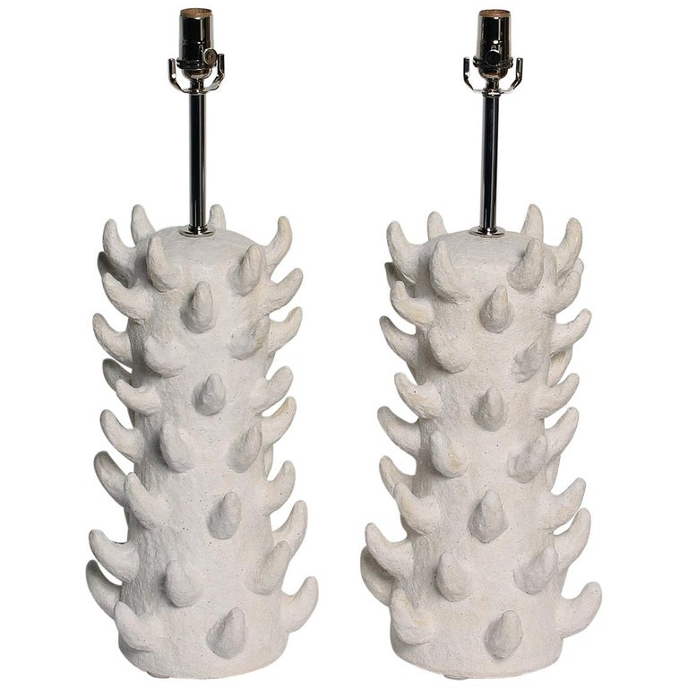 Handcrafted Salt-Glazed Stoneware Lamps by Priscilla Hollingsworth for Stripe For Sale