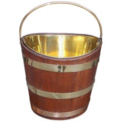English Navette Form Oak Brass Banded and Lined Peat Bucket, Circa 1820