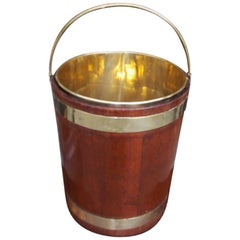 English Circular Form Mahogany Brass Banded and Lined Peat Bucket, Circa 1820