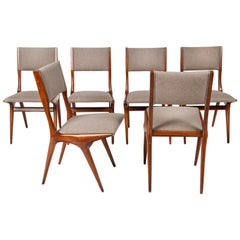 Carlo de Carli Mod 158, Set of Six Dining Chairs, Italy, 1953