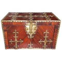 French Kings Wood and Brass Bound Fleur-de-Lis Strong Box, Circa 1820