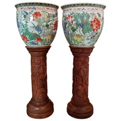 Pair of Oriental Gump Fish Bowls on French Walnut Jardinières