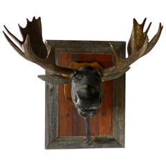 1940 Antique Folk Art Carved Moose Head with Antlers
