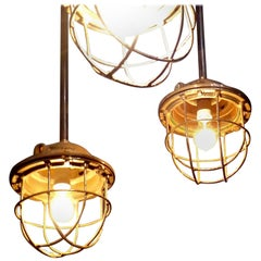1930s French Caged Industrial Lights