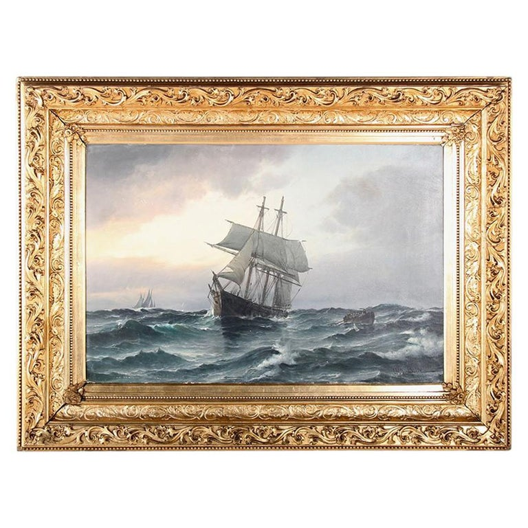 Danish Oil on Canvas Seascape Vilhelm Bille For Sale