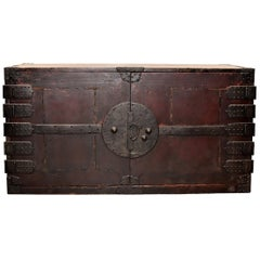 Vintage Japanese Low Tansu Chest with Iron Hardware