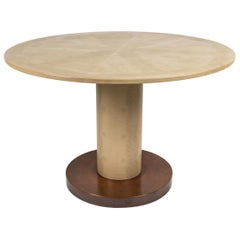 Embossed Leather and Brass Games Table