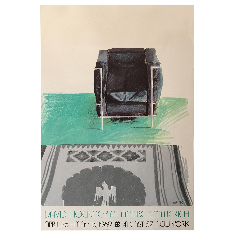 Original Vintage Exhibition 'David Hockney At Andre Emmerich' New York, 1969