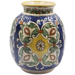 Authentische Talavera Dekorvase Volkskunst Schiff Mexikanische Keramik Blau Weiß