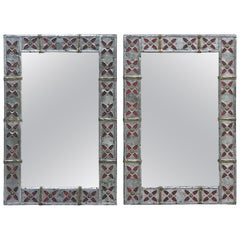 Syrian Pewter, Brass and Enameled Mirror