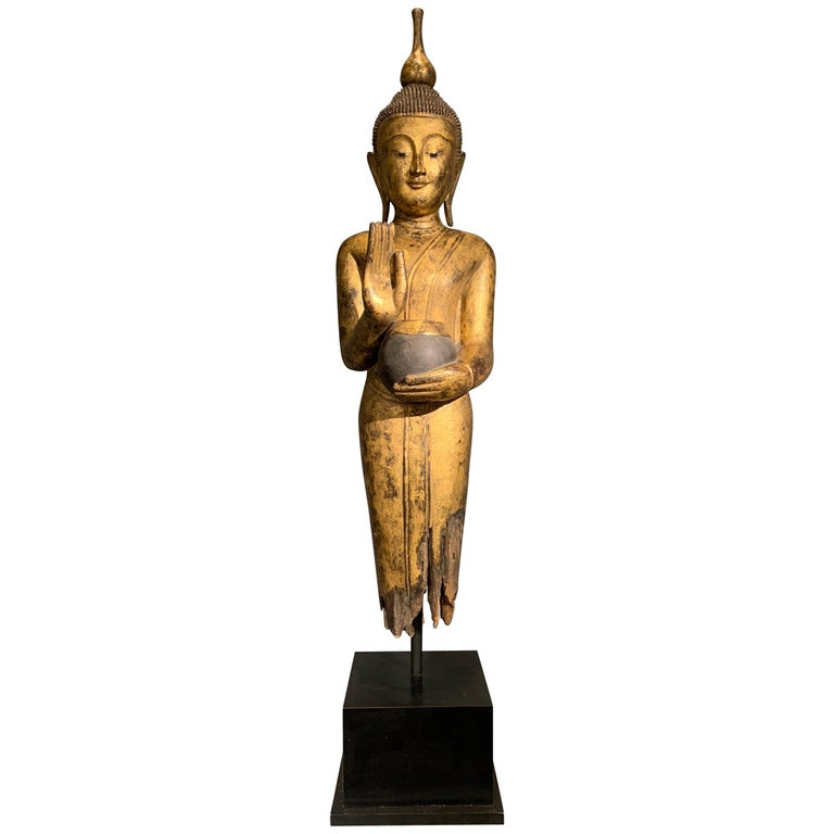 Shan Burmese Carved and Giltwood Standing Buddha, Early 20th Century