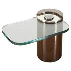 Signed. Karl Springer Cantilevered Side Table