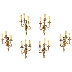 Set of Six Louis XV Style Sconces with Three Branches in Gilded Bronze