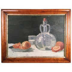 Still Life, Oranges and Bottle, Oil on Board