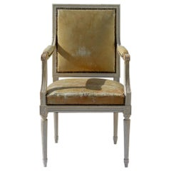 Painted French Louis XVI Style Desk Chair in Old Leather