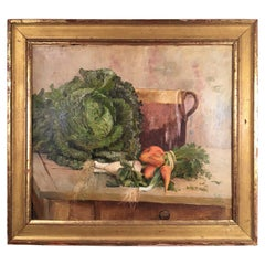 Still Life Painting, Carrots and Lettuce, Oil On Canvas