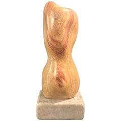 20th Century Modern Art Marble Sculpture on Limestone Plinth Base