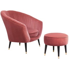 Koket Audrey Chair and Foot Rest in Velvet