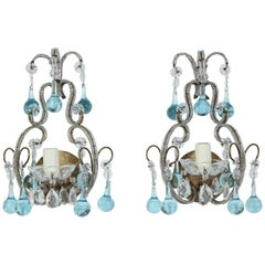Italian Crystal Beaded Sconces with Blue Drops