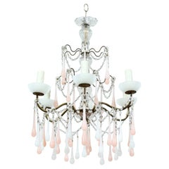 Italian Pink and White Opaline Crystal Beaded Chandelier