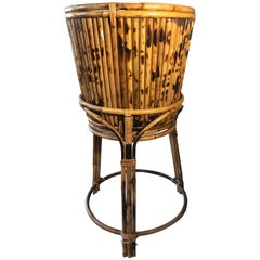 Vintage Oriental Tiger Bamboo and Rattan Planter Pot and Stand