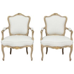 1920s French Louis XV Painted and Parcel-Gilt Armchairs, Pair