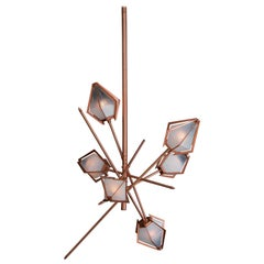 Harlow Small Chandelier in Copper and Alabaster by Gabriel Scott