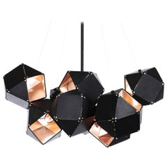 Welles Central Chandelier in Black and Brass by Gabriel Scott