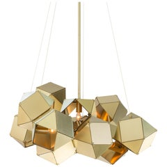 Welles Central Chandelier in Brass by Gabriel Scott