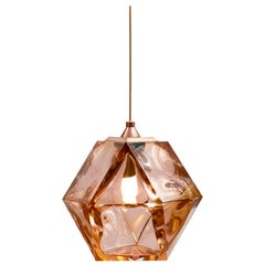 Welles Double Blown Glass Pendant in Copper by Gabriel Scott
