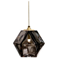Welles Double Blown Glass Pendant in Brass and Smoked Glass by Gabriel Scott