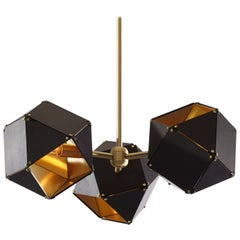 Welles Spoke Pendants in Brass and Black by Gabriel Scott