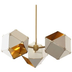 Welles Spoke Pendants in Brass and White by Gabriel Scott