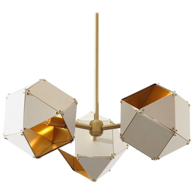 Welles Spoke Pendants in Brass and White by Gabriel Scott For Sale