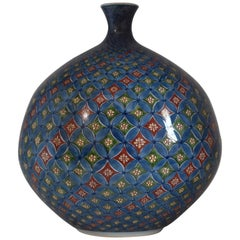 Japanese Contemporary Red Blue Green Imari Porcelain Vase by Master Artist