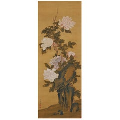 19th Century Japanese Scroll Painting. Peonies. Hayashi Chisen, Nanpin School